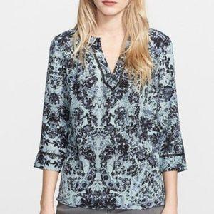 Rebecca Taylor Kiku print silk top blouse tunic